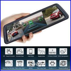 10'' Screen ADAS Car DVR With 4 Cameras Media Rearview Mirror 360° dash camera