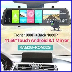 12In 4G Android 8.1 Car Rearview Mirror DVR Camera GPS ADAS Night Vision Dash