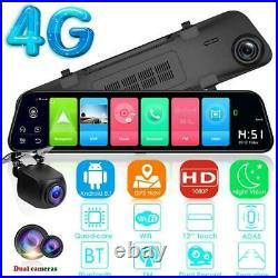 12 HD Dual Lens Car DVR Rear View Mirror Android Dash cam Camera WIFI 4G GPS