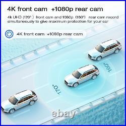 12 Mirror Dash Cam 4K GPS Dual Lens Backup Camera Car Rearview DVR Recorder US