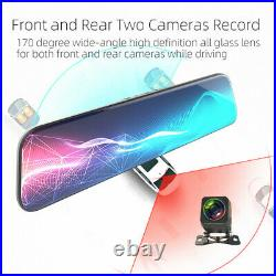 12in Touch Screen Car DVR Rear View Mirror 1080P Camera Dual Lens Video Recorder