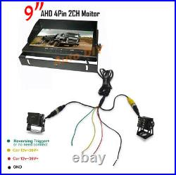 2x HD 1080P 4Pin Reverse Backup Camera 18LED + 9 DVR Monitor Car Rear View Kit