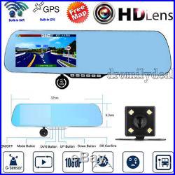 32GB Full HD1080P WIFI GPS Sat Nav Car DVR Rear View Mirror Monitor Camera W840