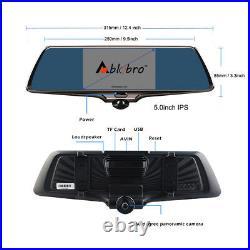 360° Panoramic Car DVR Camera 5.0 1080P Video Recorder Rearview Mirror Dash Cam