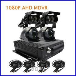 4CH 1080P AHD 256GB SD Car DVR Mobile Video Recorder Side Rear View Duty Camera