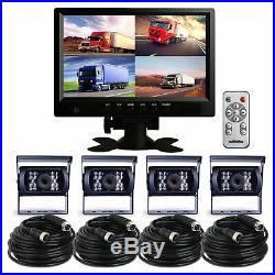 4CH 9 Monitor Bus Truck Tractor Backup Security SYSTEM 4x Rear View Camera Kit