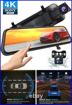 4K 10'' Mirror Dash Backup Camera Gps Support Front Rear View Dual Lens G-Sensor