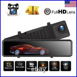 4K GPS Mirror Dash Cam Voice Control Rear View Touch Screen Car Camera 12inch