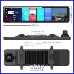 4+32G Android 8.1 rearview mirror camera 3 split screen dual DVR ADAS DashCam