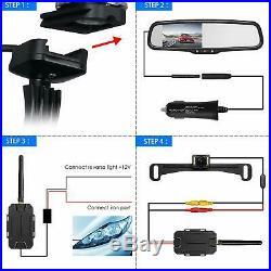 4.3 LCD Wireless Car Rear View Mirror Monitor OEM + Night Vision Backup Camera