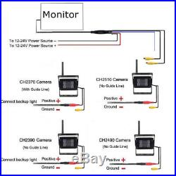 4x Wireless IR Rear View Back up Camera System+ 7 Monitor for Truck RV 12-24V