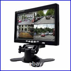 7Car Monitor 4 Split AHD Rear View 4X LED Camera Waterproof Video FOR Truck Bus