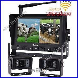 7 Digital Wireless Split Rear View Backup Camera System Farm, No Interference
