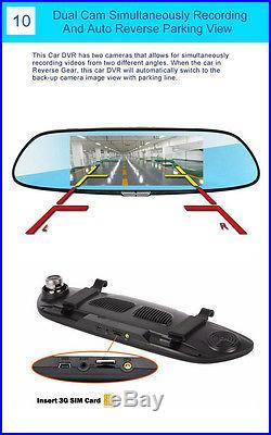 7 HD Android 3G WIFI GPS Rear View Mirror Dash Video Recorder Car DVR Dual Lens
