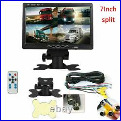 7 HD Monitor Quad Split+4x Front/Side/Backup Rear View Camera For Bus Truck RV
