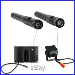 7 LCD Monitor+4X Wireless Rear View Backup Camera Night Vision For RV Truck Bus