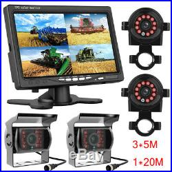 7 Quad Monitor DVR SD Recorder Side Rear View Backup Camera System For Truck RV