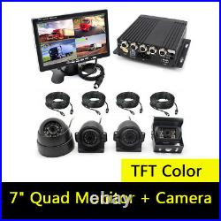 7 Quad Monitor Parking Reversing Security SYSTEM 4xCCD Camera For Truck Caravan