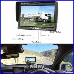 7 Quad Monitor Split screen 4x 4PIN 18 IR CCD Color Rear View Camera For Truck