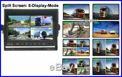 7 Quad Monitor Vehicle DVR Recorder + 4X Side Rear View Camera System For Truck