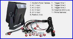 7 Quad Monitor Vehicle DVR Recorder Rear View Camera System For Truck Trailer