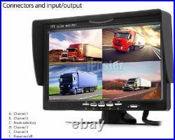 7 Quad Split Monitor Screen+4X Rear View Backup Camera For Bus Truck RV Trailer