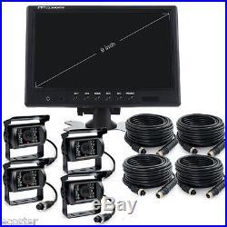 9 Digital Quad Split Monitor Rear View Back Up Camera System For Bus Truck Rv