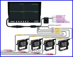 9 Inch Quad/split LCD Backup Rear View Reverse Side View Camera System