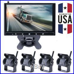 9'' Monitor Kit+ 4 x IR Rear View Backup Camera System For Bus Track RV 12V 24V