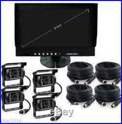 9 Quad Monitor Built-in Dvr Car Rear View Camera Kit For Truck Trailer Rv