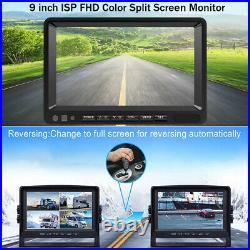9 Quad Monitor DVR for RV Semi Box Truck Trailer Rear Side View Backup Camera
