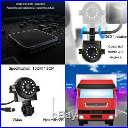 9 Quad Split Monitor + 4x Side Rear View Backup Camera System for TRUCK RV Bus