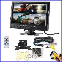 9 Quad Split Monitor Screen +4X Rear View Backup Camera System For Bus Truck RV