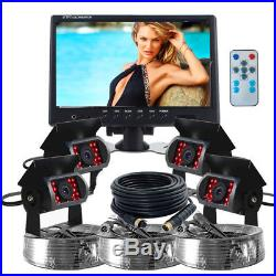 9 Quad Split Screen Monitor 4x Backup Rear View CCD Camera Syetem For TRUCK car
