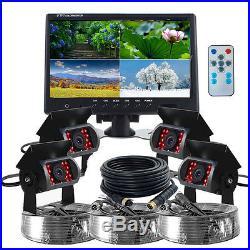 9 Quad Split Screen Monitor 4x CCD Backup Rear View Camera Syetem For Truck Bus