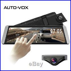AUTO-VOX 9.88'' Dual Lens Car DVR Rear View Mirror Dash Cam + Backup Camera Kit