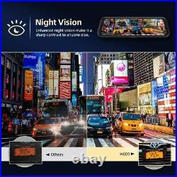 Car Mirror Dash Cam 10 Dual 1080P IPS Full Touch Screen Backup Rear View Camera