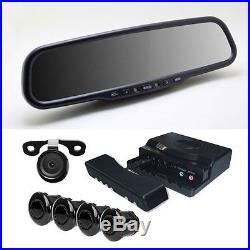 Car Rear View Mirror 4.3'' Screen with G-Sensor + Camera 480 TVL 4 pcs Radar Kit