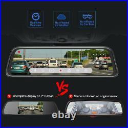 Dash Cam 10'' 1080P Front Rear Camera Car View Mirror DVR Recorder Full Screen