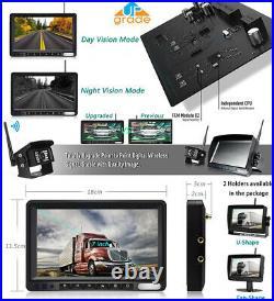 Digital 2 X Wireless Rear View Backup Camera + 7 Split Monitor For RV Truck Bus