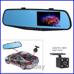 HD 1080P In-Car Rear View Mirror 4.3 Monitor Dash Cam Recorder Camera Dual lens