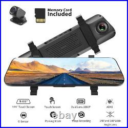 Mirror Dash Cam 1080P Rearview Dual Camera Vehicle Front Rear HD Video Recorder