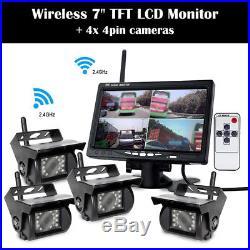 Quad Rear View Camera + 7 Wireless Backup Monitor For RV Truck Bus Semi-Trailer