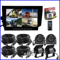 REAR VIEW CAMERA BACKUP SYSTEM 7 QUAD MONITOR BUILT-IN DVR+4 x CCD CAMERA+32GB