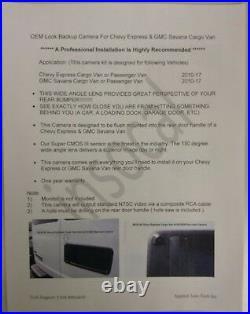Rear view Camera for Chevy Express & GMC Savana Cargo Van Backup Camera 2010-19