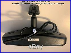 Rearview Mirror 4.3 Monitor 4 Honda 08-12 Accord 08-11 Civic aftermarket Camera
