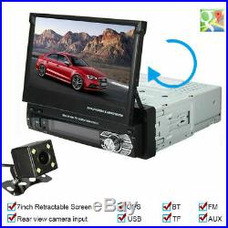 Retractable Car Stereo Radio 1 Din 7 HD Touch Screen Bluetooth Usb Audio Player