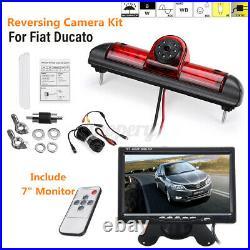 Reverse Rear View Camera Brake Light Night Vision & 7'' Monitor For Fiat Ducato