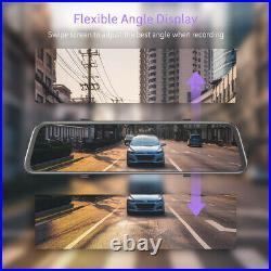TOGUARD 2.5K GPS Mirror Dash Cam 12 Voice Control Front Rear View Car Camera US
