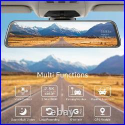 TOGUARD 2.5K Mirror GPS Dash Cam 12 Voice Control Car Rearview Camera Recorder